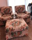 Floral Upholstery Club Chairs (2) with matching Ottoman