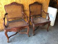 2 French Style Carved Arm Chairs
