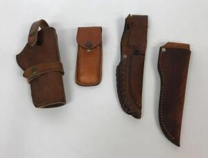 3 leather knife scabbards, leather pistol scabbard