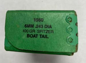 6MM .243 DIA 100 GR Spitzer Boat Tail