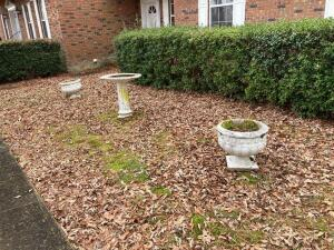 Bird Bath and 2 Large Pots