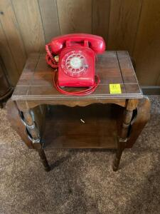 Telephone table with Red Rotary Phone