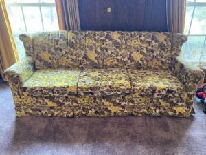 Sofa, 3 cushion, floral, vintage from mid 70's