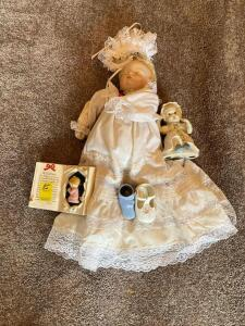 Baby Decor including a Sugar Britches Reproduction Doll with missing arm