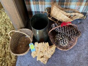 Baskets, Trash Can, Pine Cones, etc...