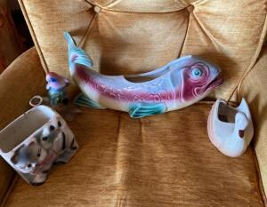 Vintage Pottery - Fish, Royal Copley Bird, Cat, Swan