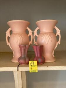 Pink McCoy Vases and two smaller vases (4)