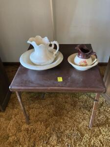 Card Table, 2 Pitcher and bowl sets