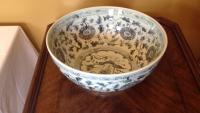 Blue and white  porcelain bowl, 16in d, 7in h