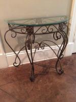 "Console Table, Glass Top, Metal Base, 28"" H x 33"" W x 16"" D"