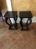 "Tables, Set of 2, Black Wood, 23"" H x 14"" Square"