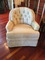 "Pair of Upholstered Arm Chairs, Tufted Back & Arms, Soiled & Stained on Arms, 31""H x 28"" W x 32"" D"