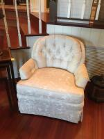 "Pair of Upholstered Arm Chairs, Tufted Back & Arms, Soiled & Stained on Arms, 31""H x 28"" W x 32"" D - 2"
