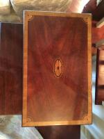 "Tables, Nest of 3, 24"" H x 21"" W x 13"" D (Largest Table), Inlaid Mahogany Ribbon Band Fan Accents - 3"