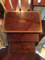 "Tables, Nest of 3, 24"" H x 21"" W x 13"" D (Largest Table), Inlaid Mahogany Ribbon Band Fan Accents - 4"