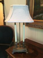 "Table Lamp, Double Candlestick, 27"" H, Silk Shade - 2"