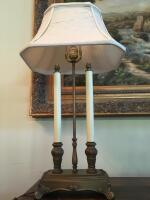 "Table Lamp, Double Candlestick, 27"" H, Silk Shade - 3"
