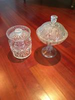 Glass, Set of 2, Lead Crystal Biscuit Jar, Pressed Glass Compote