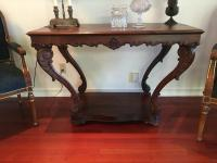 "Antique Table, Parlor, 46"" W x 32"" H x 22"" D, Cabriole Legs, Pegged, See Photos for Damage"