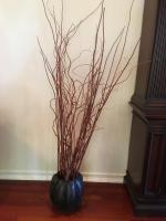 Floral Decor, Twisted Branches in Metal Pumpkin Shape Container