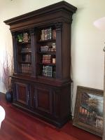 "Bookcase 94"" H x 71"" W x 19"" D, 3 Columns, Mahogany, Lighted (DOES NOT Include Contents)"