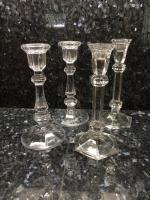 Candlestick, Set of 4, Lead Crystal, 1 with Chip