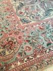 "Rug, Aubusson Machine Made, 9'9"" x 13'9"", Rose, Pink, Teal Green Color with Beige Ground"