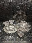 Glassware, Lead Crystal, 2 Plates, 2 Candlesticks, 2 Votives and Ashtray