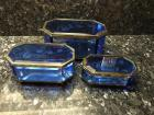Mirror Boxes, Set of 3, Blue Plastic with Brass Accents