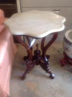 Table, Turtletop Marble, Victorian Style Reproduction, 29in H, 24in D