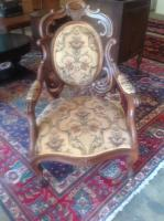 Victorian Parlor Chair, on Casters, 40in BH x 22in D x 24in W