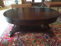 Cocktail Table, Victorian Mahogany, Oval Empire, 42in L x 26in W x 19in H