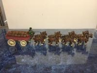 Cast Iron Clydesdale Horses with Beer Wagon