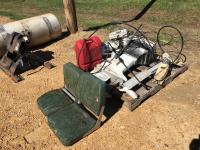 60 HP Johnson Boat Motor, Trolling Motor, Boat Seat and Gas Tank
